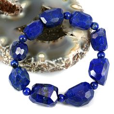 skj-jewelry - Royal Blue Lapis Lazuli Facet Cut Nugget Bead Bracelet