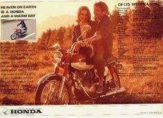 """Heaven on earth is a Honda on a warm day"" Honda Motorcycles, Honda Cb, Vintage Bikes, Mid Century House, Modern Bohemian, Heaven On Earth, Warm, Brochures, Amen"