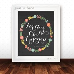Bible verse printable - For this child I prayed - 1 Samuel 1:27 -Chalkboard nursery-Christian wall art  - Scripture Print-  INSTANT DOWNLOAD...