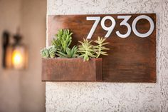 Hey, I found this really awesome Etsy listing at https://www.etsy.com/listing/474149188/modern-metal-address-planter-gives-curb