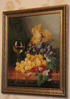 Вот и оформился мой натюрморт с виноградом и малиной от Эстэ.Размер 45х53 см,аида 16.Количество...