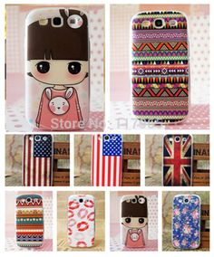 Multi-Style National Flag Pink Girl Flower Red Clip Pattern Painted Hard Case Cover for Samsung Galaxy S3 III I9300 EC239