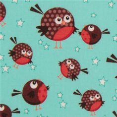 Michael Miller USA designer fabric Round Robin  cute light blue fabric with many robins and stars from the USA