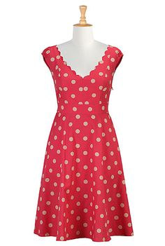 Scalloped polka dot print dress