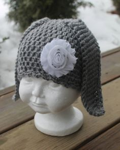 Crochet Bunny Hat Bunny Hat with Flower by HookedByNurseSharon, $20.00