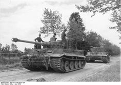 Tiger I tanks of the I SS Panzer Corps Leibstandarte SS Adolf Hitler close to Villers-Bocage (June 1944)