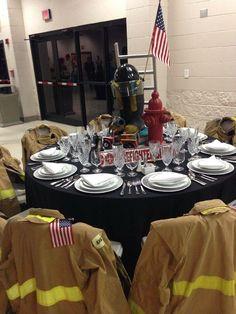 Good idea for a table for the crew Fireman Wedding, Fireman Party, Firefighter Wedding, Firefighter Birthday, Firefighter Academy, Firefighter Family, Volunteer Firefighter, Firefighters, Firemen