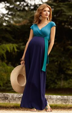 Jewel Block Maternity Maxi Dress Biscay Blue - Maternity Wedding Dresses, Evening Wear and Party Clothes by Tiffany Rose.