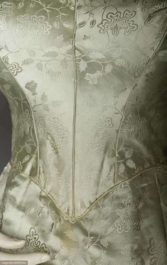 1840s Ice blue silk satin w/ abstract floral pattern Augusta Auctions