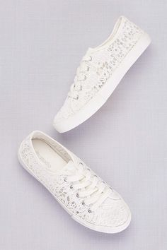 57898dcd38dc David s Bridal White Sneakers and Casual (Crochet Lace Sneakers) These  would be comfy and you!
