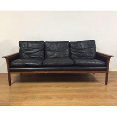 Image of Hans Olsen for Mobler Vintage Black Leather Sofa