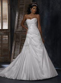 sweet heart wedding dresses | Bordeaux Taffeta Soft Sweetheart Neckline A-line Wedding Dress #004765