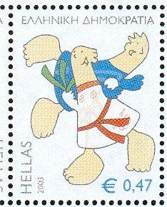 Judo , (Mascot and Olympic games) . Olympic Mascots, Olympic Games, 2004 Olympics, Judo, Totoro, Athens, Greece, Stamps, Comics