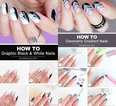 Modele unghii naturale realizate pas cu pas Black White Nails, Nailed It, Gradient Nails, Beauty, Gradation Nail Design, Ombre Nail, Beauty Illustration