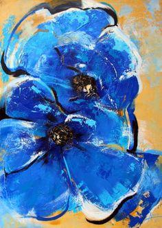 """Saatchi Art Artist Alla Dzevaltovska; Painting, """"Blue Poppy"""" #art"""