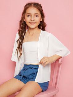 Product name: Girls Bell Sleeve Textured Kimono at SHEIN, Category: Girls Kimono