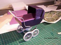 Miniatures, purple stroller. Tutorial