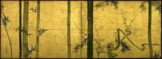 """""""Bamboo and Plum Tree,"""" Tokyo National Museum • Ogata Kōrin. An Important Cultural Property. Two-fold screen; color on gold leafed paper. Japan. Edo period (18th century)."""