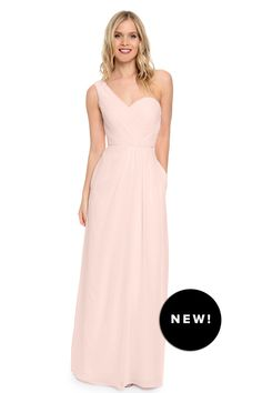 Delicate and ethereal chiffon one shoulder gown. Obsessed with this blush tone | The 'Louisa' by Dove & Dahlia