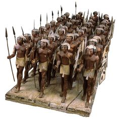 Egyptian Museum - Wood Model of Soldiers of Mesehti, Egyptian Pikemen -  Middle Kingdom: Dynasty 11