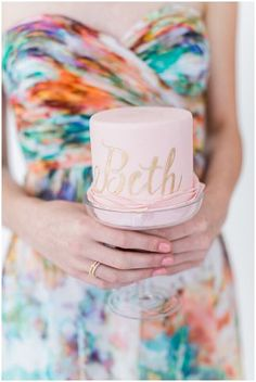 Pink Mini Cake | Watercolor Floral Bridesmaid Dress | | Alexis June Weddings | see more at http://fabyoubliss.com