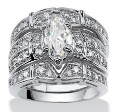 3.05 TCW Marquise-Cut Cubic Zirconia Silvertone Bridal Engagement Ring Wedding Band Set on PalmBeach Jewelry