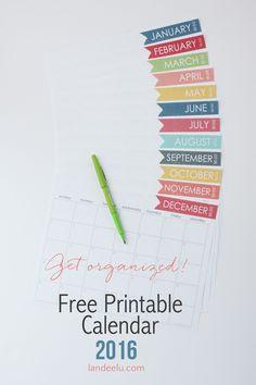 Free Printable Calendar 2016 | landeelu.com A simple, free printable calendar for 2016! Very ink friendly with lots of room to write!