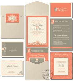 Garden Pocket Wedding Invitation