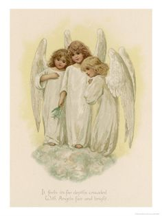 Hahnemuhle PHOTO RAG Fine Art Paper (other products available) - Three young angels - Image supplied by Mary Evans Prints Online - Fine Art Print on Paper made in the UK Images Vintage, Vintage Cards, Vintage Postcards, Angel Protector, Vintage Illustration, Angel Images, I Believe In Angels, Angels In Heaven, Heavenly Angels