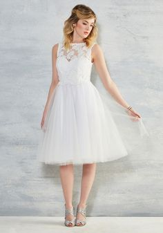 I Now Pronounce You Posh Lace Dress in White. In this white midi - part of our ModCloth namesake label - you look and feel fit for a fairytale. #white #wedding #bride #prom #modcloth