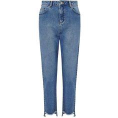 Miss Selfridge Blue Step Hem Straight Leg Jean (160 BRL) ❤ liked on Polyvore featuring jeans, mid blue, blue jeans, miss selfridge, straight leg jeans, miss selfridge jeans and medium wash jeans