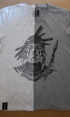 Feral Aztec Warrior in White w/Slate Ink and Grey w/Black Ink.