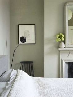 How to decorate with sage green. Explore green furniture fabrics textures prints and home decor accessories for your living room dining room bedroom kitchen and bathroom. Green Bedroom Walls, Sage Green Bedroom, Living Room Green, Green Rooms, Bedroom Colors, Bedroom Decor, Bedroom Ideas, Grey Walls, Bedroom Bed