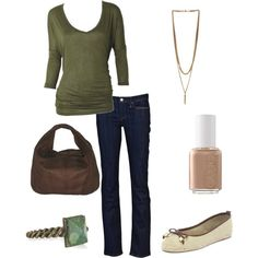 green casual, created by ohsnapitsalycia on Polyvore