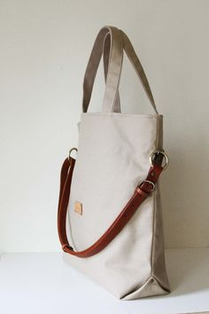 3 way tote bag with removable leather shoulder strap by Womensgirl