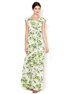Silk Sparrow Print Flutter Gown by Carolina Herrera