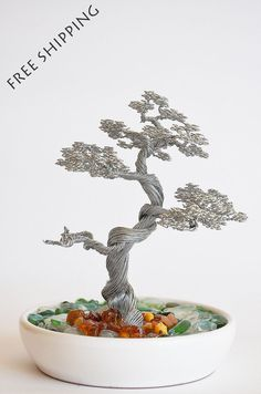 Bonsai wire tree sculpture this hand made art craft decorated with amber stones from baltic sea and small sea glass FREE SHIPPING
