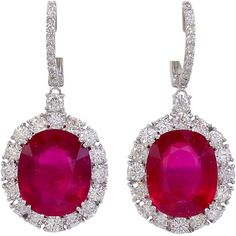 Ruby and Diamond Earrings on a Diamond Wire at 1stdibs found on Polyvore