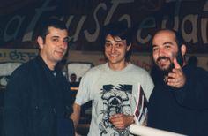 da sinistra Flipper, Marco Teatro e Giuseppe Palumbo Foto di Ema Sias H.I.U 7° edizione Milano 18, 19, 20 Maggio 2001 Leoncavallo