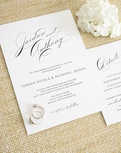 Glamorous wedding invitations with big script names - Vintage Glam Wedding Invitations