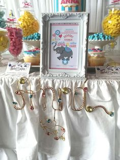 Metal name sign at a circus christening party! See more party planning ideas at CatchMyParty.com!