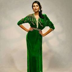 simple green moroccan caftan