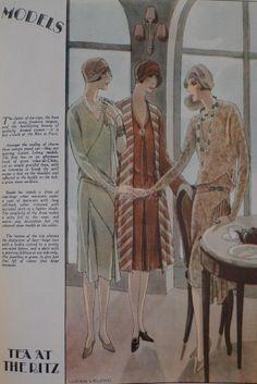 Tea at the Ritz, Woman's Journal, 1927 20s Fashion, Fashion History, Art Deco Fashion, Vintage Fashion, 1920s Outfits, Vintage Outfits, Vintage Clothing, Vintage Ball Gowns, Flapper Era