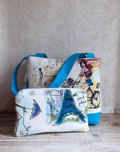 Paris Blue Travel Tote Bag with Matching by madistreasures on Etsy