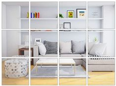 Elcoho 30 Pieces Flexible Mirror Sheets Self-Adhesive Plastic Mirror Tiles Non-Glass Mirror Stickers for Home Decoration, 6 × 6 Inches - - Amazon.com Stair Stickers, Diy Wall Stickers, Mirror Wall Stickers, Decals, Living Room Tv, Living Room Chairs, Mirror Tiles, Vanity Mirrors, Bathroom Mirrors