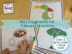 50 fun play dough mats for following directions. Includes color & gray scale, with visual cue cards too!