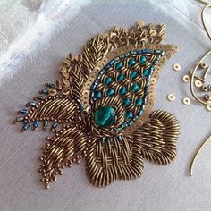 Grand Sewing Embroidery Designs At Home Ideas. Beauteous Finished Sewing Embroidery Designs At Home Ideas. Zardosi Embroidery, Kurti Embroidery Design, Embroidery Neck Designs, Tambour Embroidery, Bead Embroidery Patterns, Hand Work Embroidery, Couture Embroidery, Simple Embroidery, Gold Embroidery