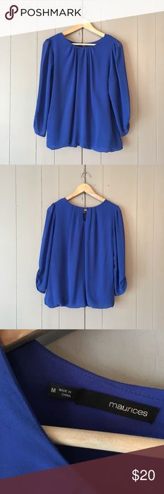 """Royal Blue Pleated Tucked Blouse Such a pretty top in excellent condition! Puffy shoulder crease and elastic tuck hem. Armpit to armpit is 18"""". Length is 24"""". Offers are welcome. ☺️ Maurices Tops Blouses"""