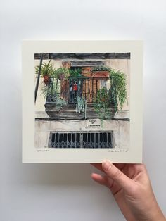 An acrylic painting of a beautiful balcony filled with plants in Barcelona, Spain. Artwork by Kirsten Jenna Haviland Acrylic Artwork, Barcelona Spain, Mixed Media Art, Balcony, Scene, Plants, Painting, Beautiful, Instagram