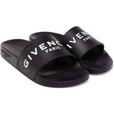 Givenchy Logo Pool Slide Sandals ($290) ❤ liked on Polyvore featuring shoes, sandals, flat sandals, flat shoes, givenchy, givenchy shoes and slide sandals